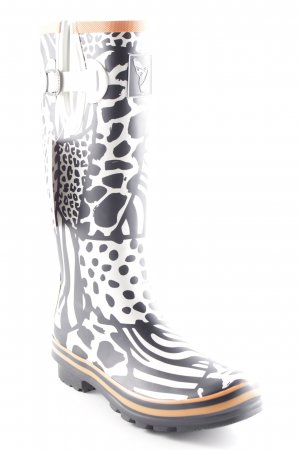 Botte en caoutchouc beige clair-noir motif animal imprimé animal