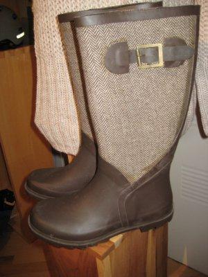 Wellington laarzen donkerbruin-beige kunststof