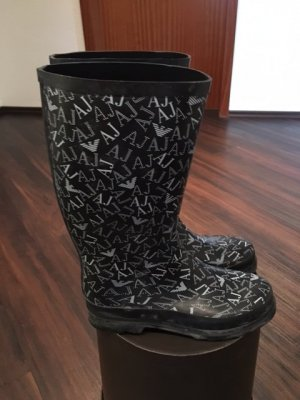 Armani Jeans Wellies black-silver-colored