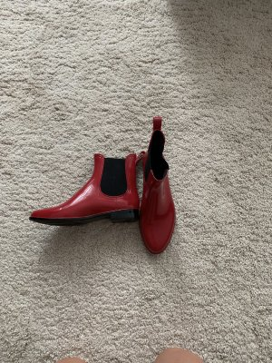Chaussures bateau rouge fluo