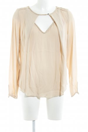 Gustav Long Sleeve Blouse beige cable stitch business style