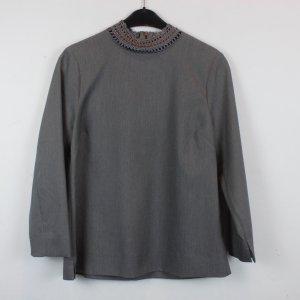 Gustav Langarmbluse Bluse Gr. 40 dunkelgrau Stickerei am Kragen NEU mit Etikett (18/2/539)