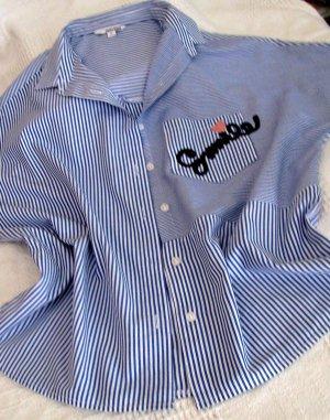 Gute Laune Bluse Hemd gestreift in blau-weiß