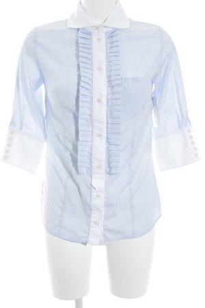 Guy Laroche Ruche blouse azuur-wit gestreept patroon zakelijke stijl