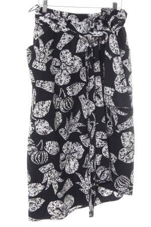 Guy Laroche Falda cruzada negro-blanco estampado temático estilo country