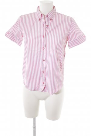 Guy Rover Kurzarm-Bluse rosa-weiß Streifenmuster Casual-Look