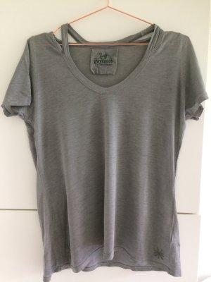 gwynedds T-shirt col en V gris foncé-gris clair