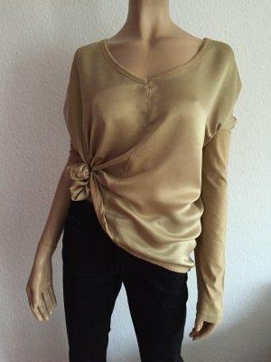 Gwynedds Seidenbluse Gr. M Bluse Gold goldene V-Ausschnitt Oversize locker