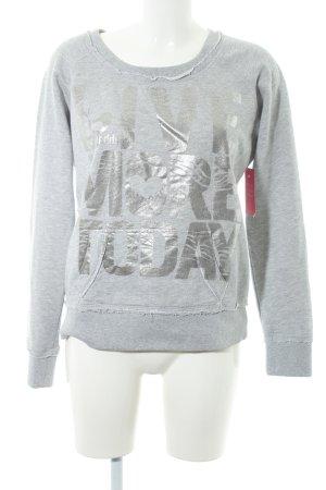 gwynedds Sweatshirt hellgrau-silberfarben Schriftzug gedruckt Casual-Look