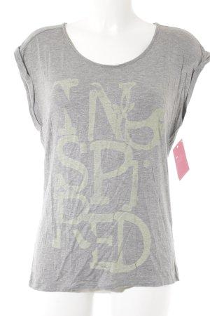 gwynedds T-Shirt hellgrau-blassgrün Schriftzug gedruckt Casual-Look