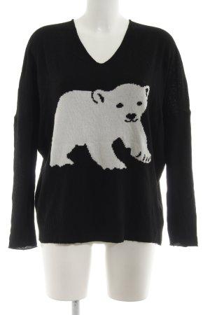 gwynedds V-Ausschnitt-Pullover schwarz-weiß Animalmuster Casual-Look