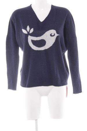 gwynedds V-Ausschnitt-Pullover wollweiß-dunkelblau Animalmuster schlichter Stil
