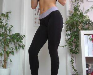 GYMSHARK Sportbroek zwart-mauve Nylon