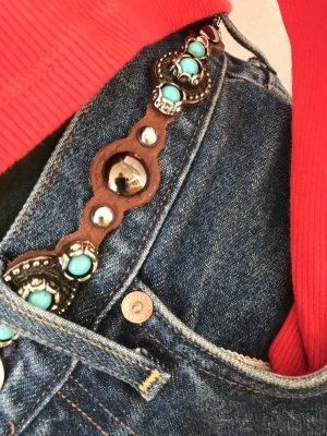 Zara Cinturón de cuero marrón-azul neón