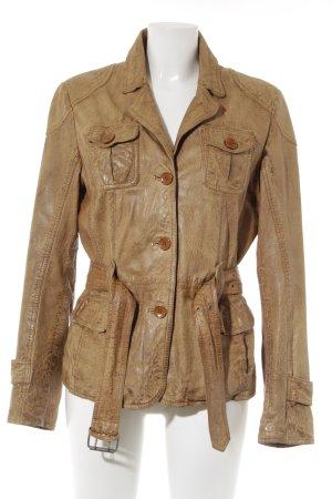 Gypsy Lederjacke beige meliert Casual-Look