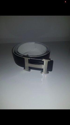 Cintura di pelle nero-bianco