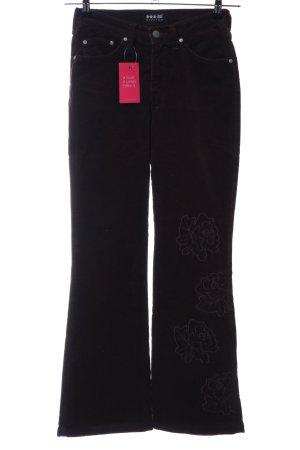 H.I.S Pantalón de pana negro-blanco puro estampado floral look casual