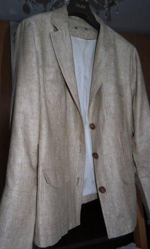 H&M Blazer corto beige-marrone Lino