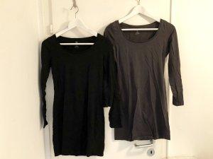 H&M 2 Longtop Set S/36 Kleid Pullover schwarz grau Top