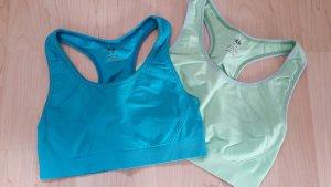H&M 2er Set Sport Bustier hellgrün blau Gr. XS