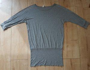 H&M 3/4 Arm Shirt Longshirt Kleid Strass Abend Party Cocktail Chic Grau XS 34