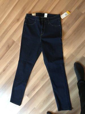 H&M Jeans taille haute bleu foncé
