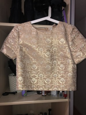 H&M Cropped Shirt gold-colored polyester