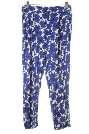 H&M 7/8-broek donkerblauw-room bloemenprint elegant