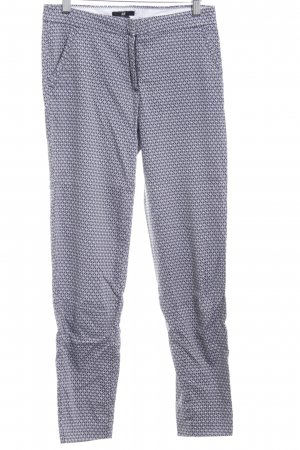 H&M 7/8 Length Trousers white-dark blue abstract pattern business style