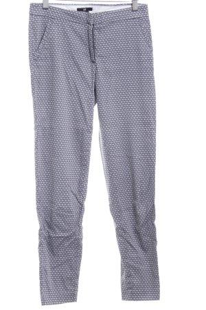 H&M 7/8-Hose weiß-dunkelblau abstraktes Muster Business-Look