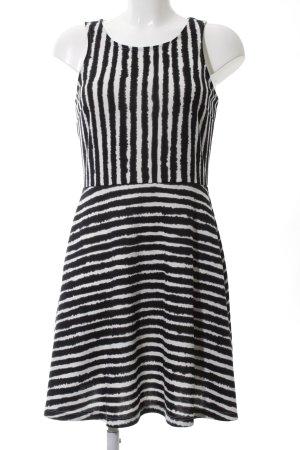 H&M A-Linien Kleid schwarz-wollweiß Streifenmuster Casual-Look