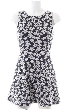 H&M A-Linien Kleid schwarz-weiß Allover-Druck Casual-Look