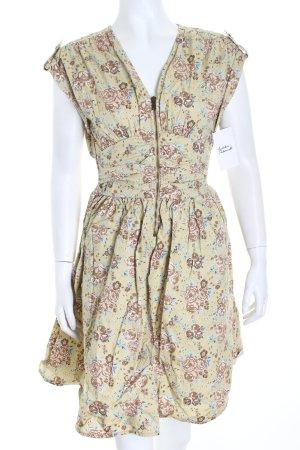 H&M A-Linien Kleid beige-hellblau Blumenmuster Schulterklappen