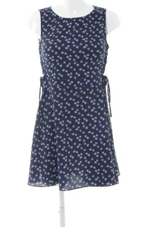 H&M A-Linien Kleid dunkelblau-weiß Blumenmuster Casual-Look