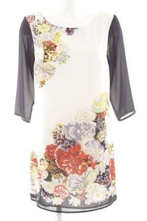 H&M A-Linien Kleid wollweiß-schwarz Blumenmuster Casual-Look