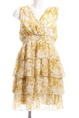 H&M A-Linien Kleid hellgelb-blassgelb florales Muster Elegant