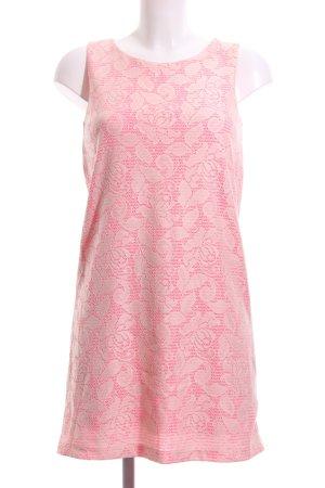 H&M A-Linien Kleid pink-wollweiß florales Muster Business-Look