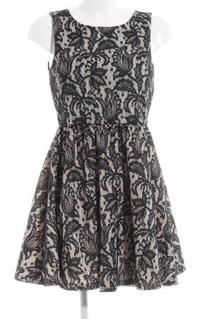 H&M A-Linien Kleid schwarz-creme florales Muster klassischer Stil