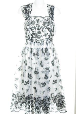H&M A-Linien Kleid schwarz-weiß florales Muster Elegant
