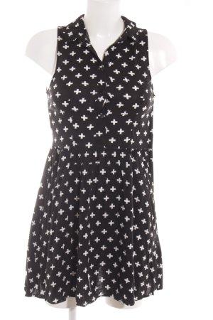 H&M A-Linien Kleid schwarz-weiß grafisches Muster Casual-Look
