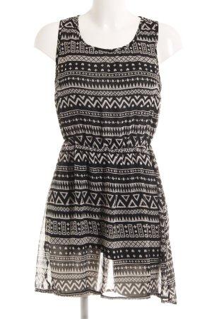 H&M A-Linien Kleid schwarz-wollweiß Mustermix Casual-Look
