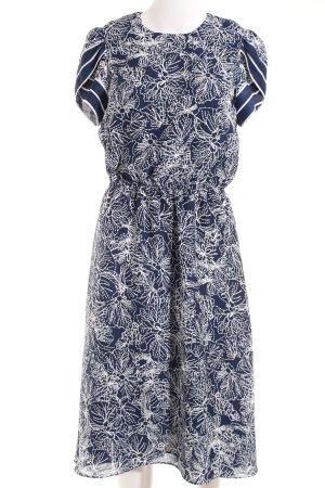 H&M A-Linien Kleid weiß-dunkelblau florales Muster Casual-Look