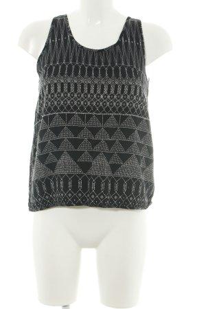 H&M A-Linien Top schwarz-weiß Allover-Druck Casual-Look
