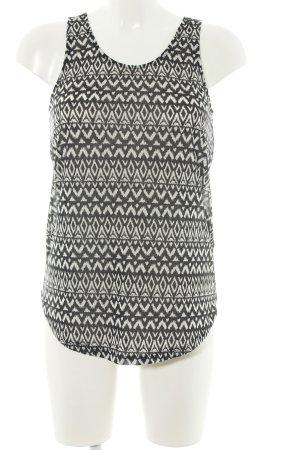H&M A-Linien Top schwarz-weiß grafisches Muster Casual-Look