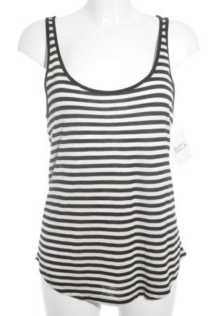 H&M A-Linien Top hellbeige-schwarz Streifenmuster sportlicher Stil