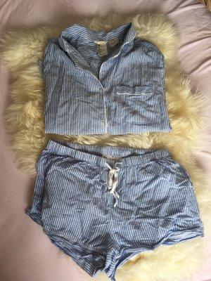H&M Pyjama blanc-bleu azur