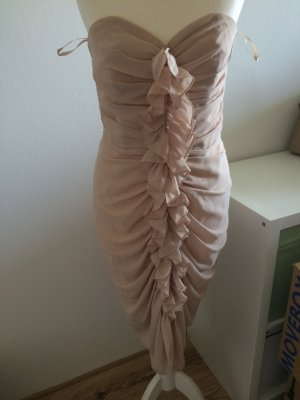 H&M Abend Kleid Volant gerafft Chiffon puder rosa nude 38 Weihnachten Silvester