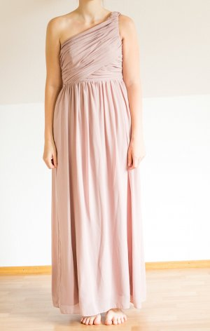 H&M Abendkleid Abiball One Shoulder Maxi mauve rosa nude puder