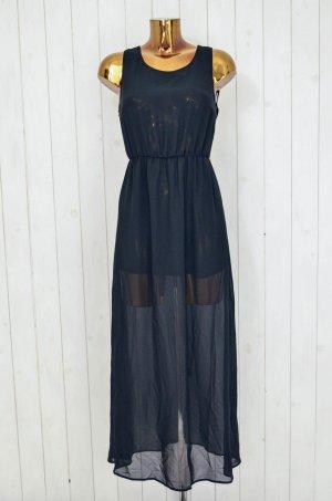 H&M Abendkleid Kleid Chiffon Schwarz Transparent Polyester Rückenfrei Gr.36