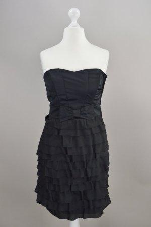 H&M Abendkleid mit Volant schwarz Größe 38